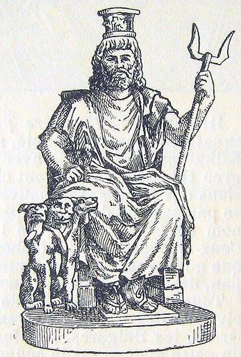 Hellenistic Serapis with Cerberus at his side.