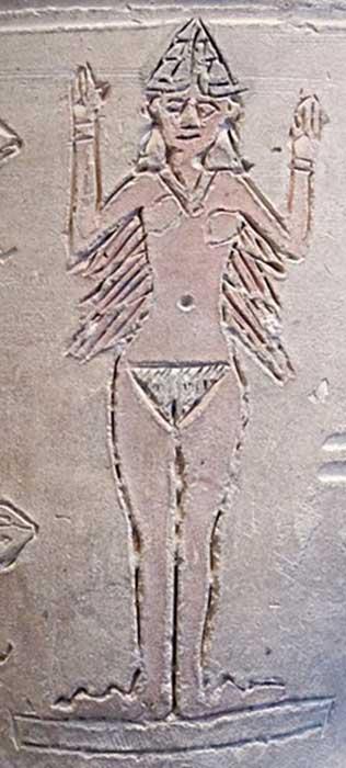 """Particolare del mesopotamica cosiddetto """"Ishtar Vaso"""", in terracotta con taglio, modellato e decorazione pittorica, da Larsa, all'inizio del 2 ° millennio aC."""