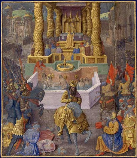 In Jean Fouquet's painting, Herod the Great enters Jerusalem. Behind him is the Second Temple with people in a ritual bath before it. (Wikimedia Commnos)