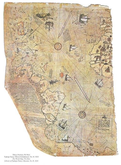 Mappa del mondo da ammiraglio ottomano Piri Reis, disegnato nel 1513.