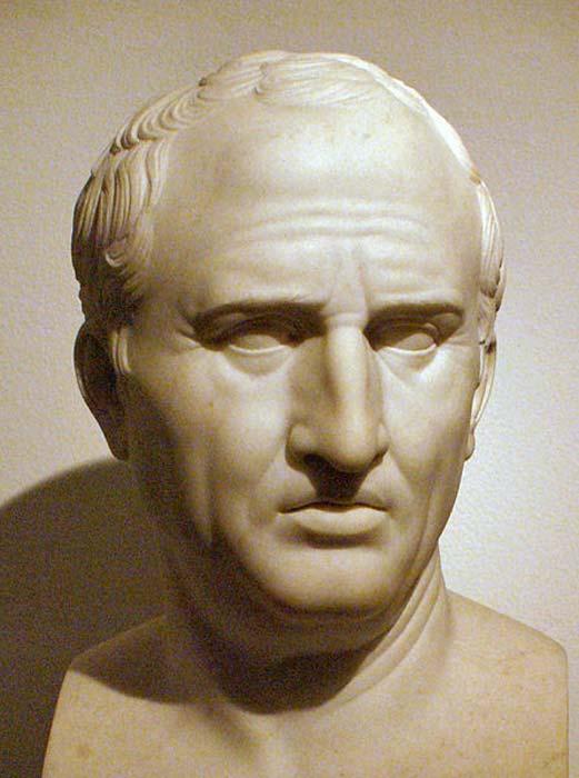 Marcus Tullius Cicero, di Bertel Thorvaldsen come copia dal originale romano, in Thorvaldsens Museum, Copenhagen.