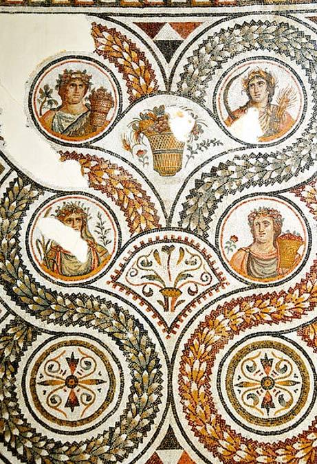 Mosaico romano delle quattro stagioni di Acholla, 3 ° secolo dC.