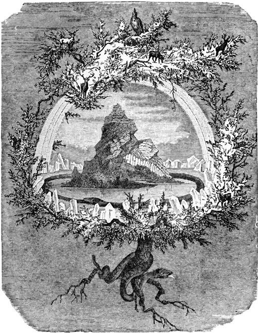 """""""El Ash Yggdrasil"""".  El árbol del mundo Yggdrasil y algunos de sus habitantes.  Wagner, Wilhelm (1886)."""