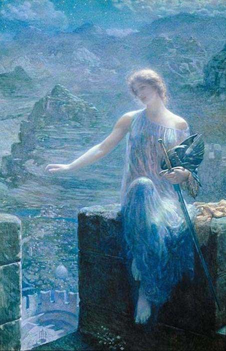 'The Valkyrie's Vigil' by Edward Robert Hughes