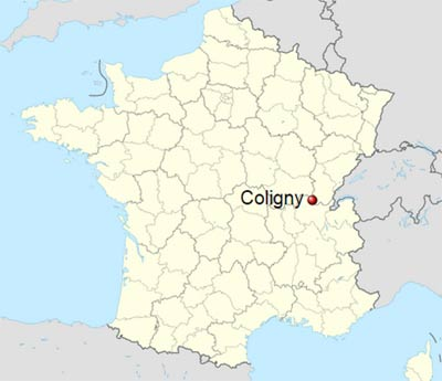 Map of France showing location of Coligny