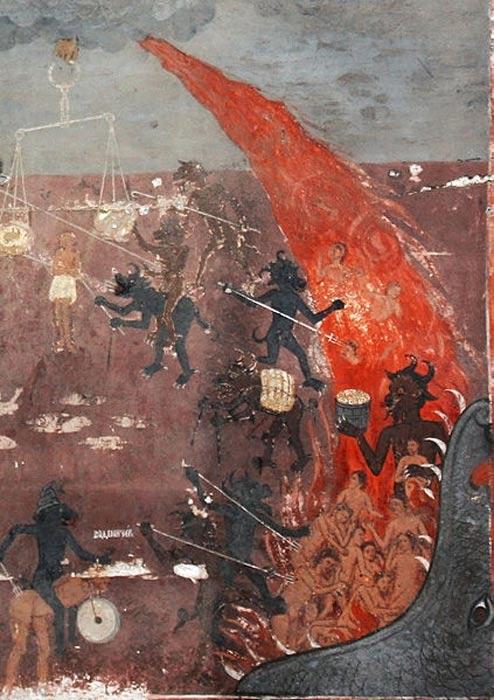 А dettaglio affresco dell'Inferno dalla chiesa medievale di San Nicola nel villaggio Raduil, Bulgaria.