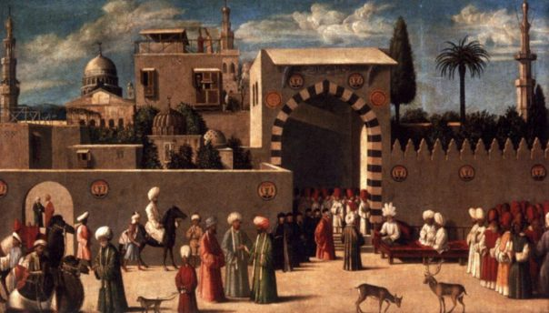 Pintura Anónimo veneciano orientalista, la recepción de los embajadores de Damasco de 1511, el Museo del Louvre.