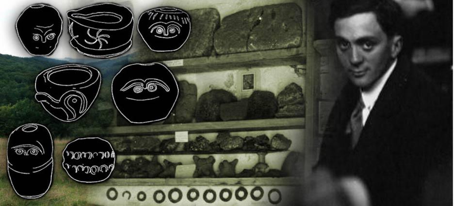 Emile Fradin y los artefactos encontrados en Glozel, con bocetos de la cerámica
