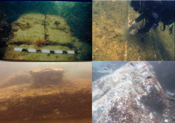 Algunos de los accidentes submarinos descubiertos fuera de Mahabalipuram.