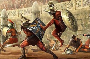 Gladiators fighting.