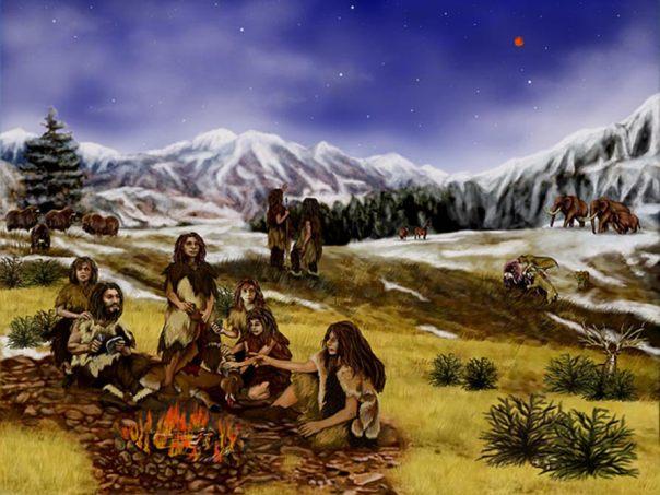 Representación artística de una familia de neandertales.