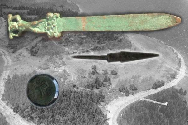 Los artefactos encontrados en o alrededor de la isla del roble
