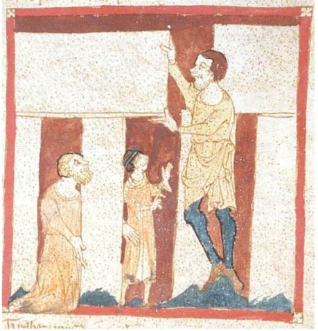 A giant helps Merlin build Stonehenge. From a manuscript of the Roman de Brut by Wace