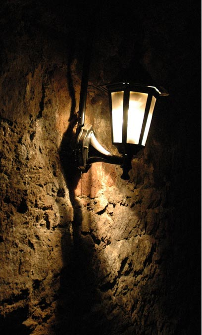The spooky atmosphere inside the vaults.