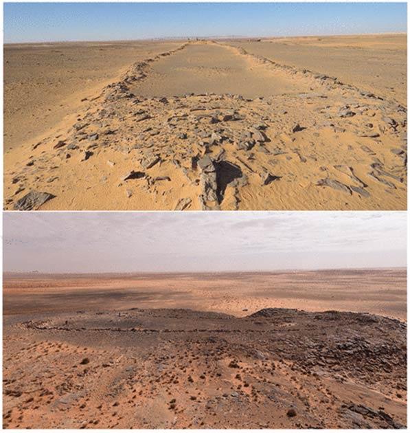 Deux des mustatils trouvés dans le désert de Nefud (Groucutt et al. / The Holocene)