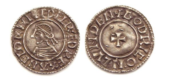 Small cross type penny with portrait of King Ethelred (not from the newly-discovered hoard). (Wikimedia Commons)