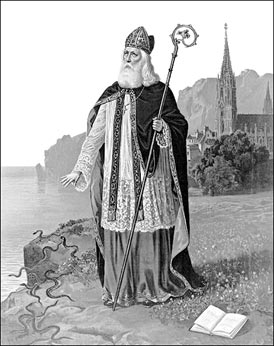 An Image depicting St Patrick casting the snakes into the sea.