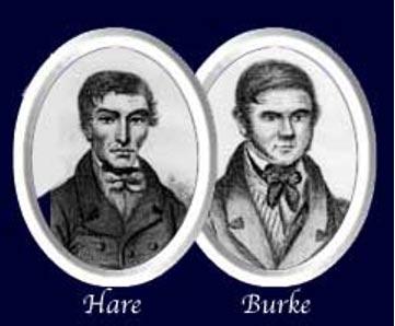 Portraits of serial killers William Hare and William Burke circa 1850.