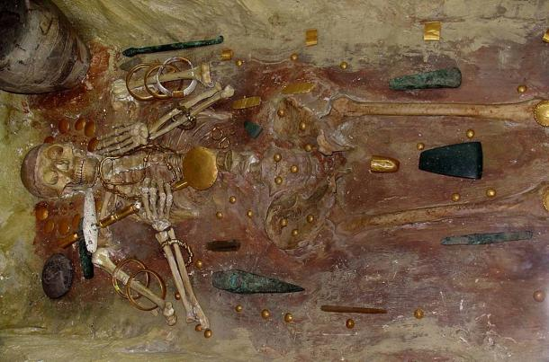 A burial at Varna, with some of the world's oldest gold jewellery.