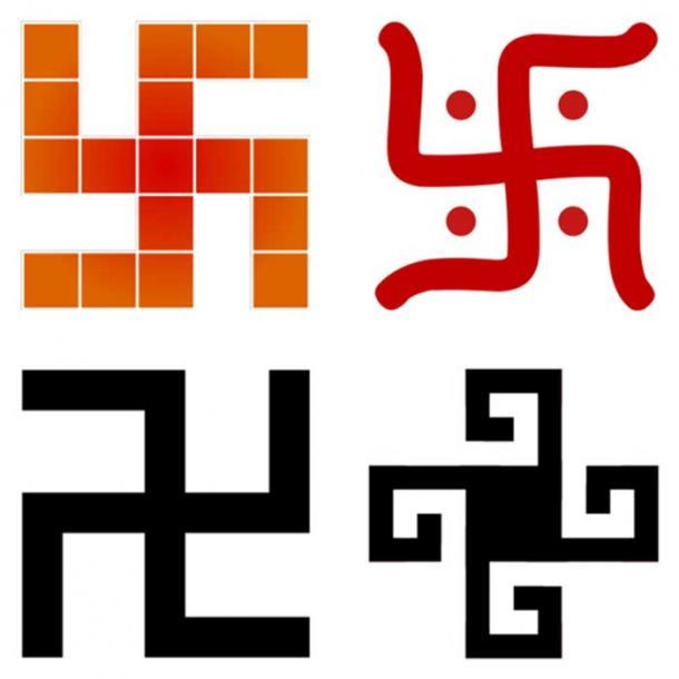 Un collage di stili svastica trovati in quattro culture diverse.