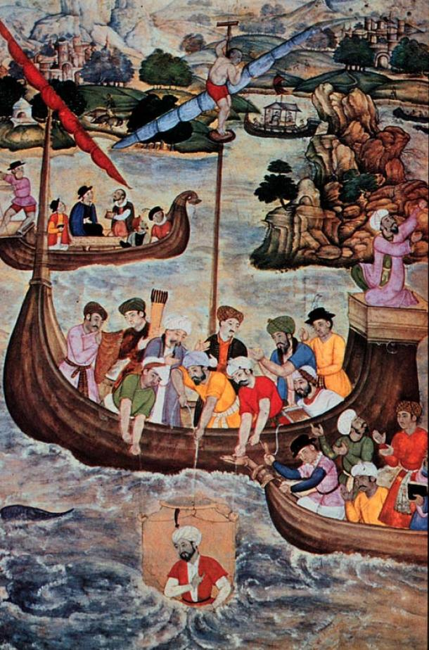 16th century Islamic painting of Alexander the Great lowered in a glass diving bell.