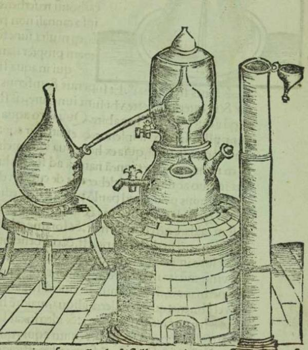 An alchemical balneum Mariae, or Maria's bath (named for the inventor, alchemist Mary the Jewess), essentially a double boiler. 1528. ( Public Domain )