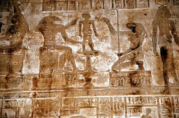 Androgynous beings Khnum and Thoth create humans on a potter's wheel