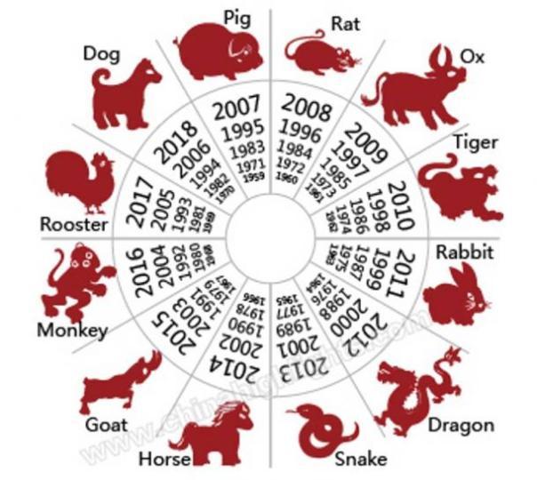 Los animales del zodiaco chino y algunos de los años asociados con ellos.