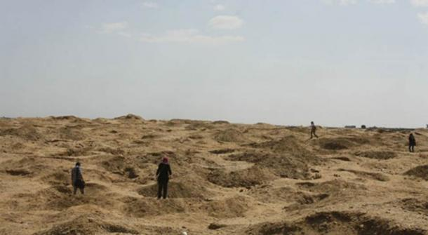 Archaeologists survey damage caused by looters at Abu Sir el-Malaq, Egypt.