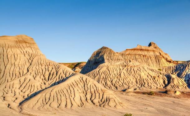 Calanchi del parco provinciale del dinosauro in Alberta, Canada