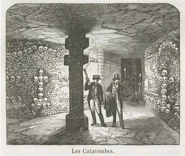 A view of the Catacombs under Paris. The catacombs are a large collection of bones and ossuaries under the city. Engraving, 1855.