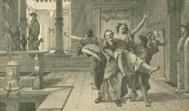 Drawing of a drunken man being carried away by friends during Saturnalia. In the background someone watches them with an empty urn drooping from his hand.