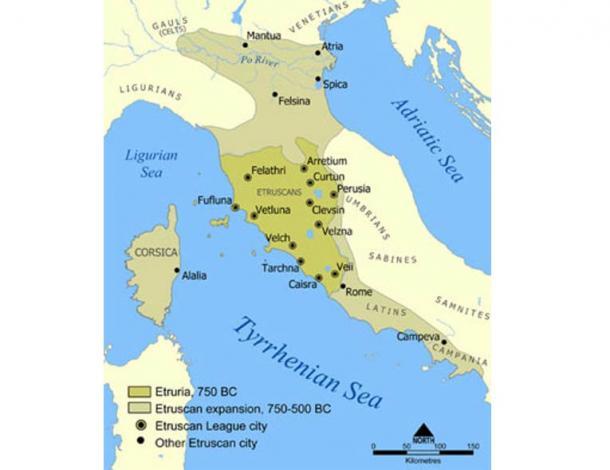 Una mappa che mostra la portata d'Etruria e la civiltà etrusca.  La mappa comprende le 12 città della confederazione etrusca e notevoli città fondate dagli Etruschi.