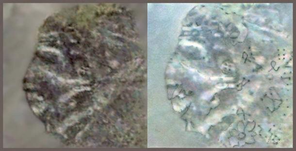 FIGURE 12 et 12a: La figure 12 est la photographie satellite originale non modifiée. La figure 12a a été légèrement retouchée au crayon.
