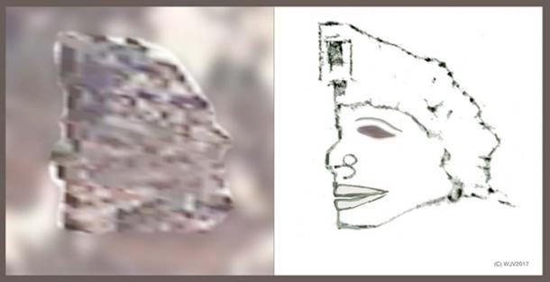 FIGURES 8 et 8a: Ce chiffre de 23 mètres de haut sur 20 mètres de large est clairement d'ascendance «autochtone». La tête semble avoir une mâchoire saillante inhabituelle. Un gnomon enregistre la coordonnée de longitude 170.16.26.00 de cette image particulière.