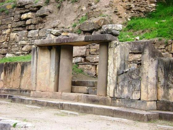 Las Falcónidas portal, New Temple, with monolithic columns, Chavín de Huántar, Peru.