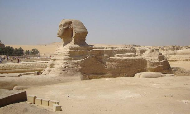 Giza Plateau - Great Sphinx - front view, note the proportions of the head to larger body.