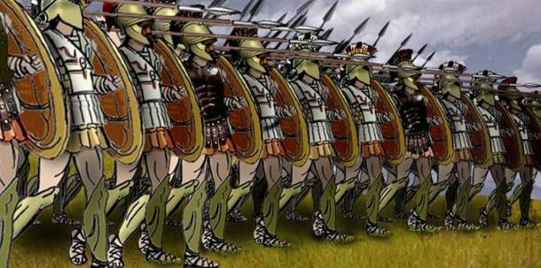 Men standing shoulder to shoulder in a Greek phalanx formation, based on sources from the Perseus Project.