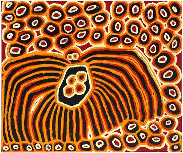Harry Tjutjuna, Pitjantjatjara, Walytjatjara, coin nord-ouest de l'Australie du Sud, Australie né c.  1928/1932, Wanka Tjukurpa (Spiderman), 2007, peinture polymère synthétique sur toile 154cm hx 182cm w.  Collection Galerie nationale d'Australie, Canberra.  (Image: © l'artiste, avec la permission du Ninuku Art Center)