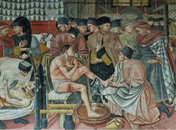 Healing the sick, fresco by Domenico di Bartolo. Sala del Pellegrinaio (hall of the pilgrim), Hospital Santa Maria della Scala, Siena.