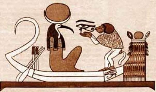Ilustración de los Ibis dirigió-Thoth y primado de babuino en barco.