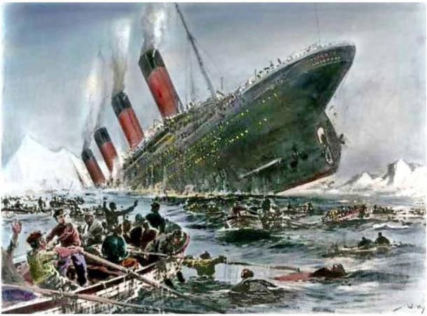 Illustrazione della nave  , Titanic.  1912.