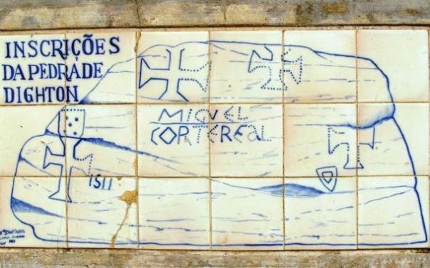 La interpretación de las inscripciones Dighton roca a medida que se presentan en el Museu da Marinha, Lisboa, Portugal.
