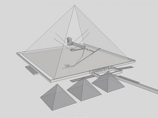 Piramide di Cheope a Giza dimostrato con alberi interni illustrato.