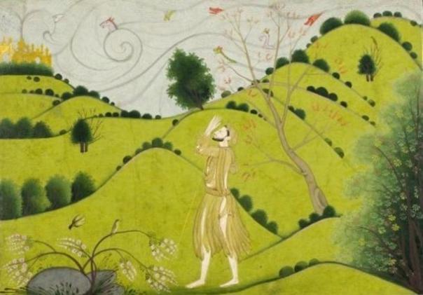 De Krishna amigo de la infancia Sudama alabando castillo de oro de Krishna en Dvārakā.  (1775-1790)