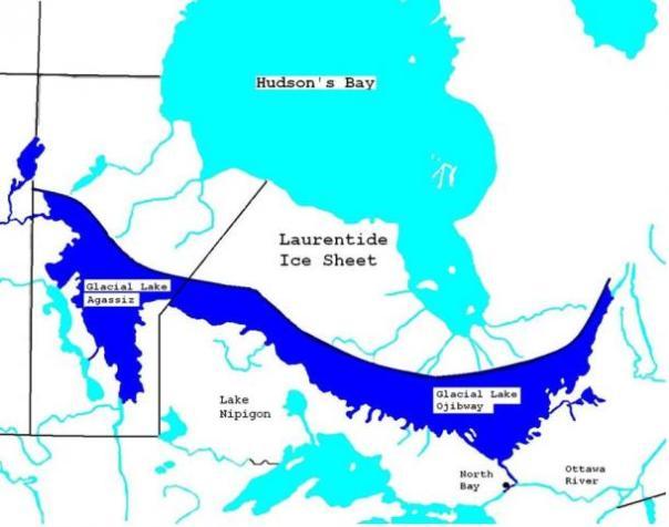 Mapa del lago glacial Agassiz y el lago ojibway ca 7900 aap.