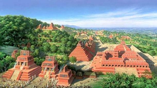 Rappresentazione artistica di ciò che il mondo Maya potrebbe avere una volta sembrava (autore ignoto)