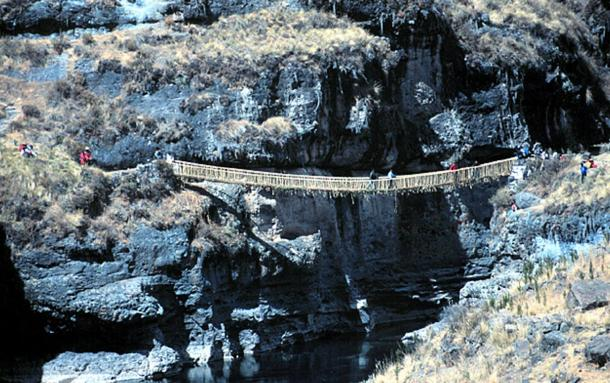 Newly reconstructed, and the last of its kind, the Incan rope bridge.