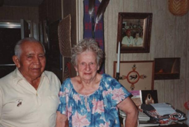 "Oswald ""White Bear"" Fredericks and his wife, Naomi, photographed in 1985 at their home in Sedona, Arizona."