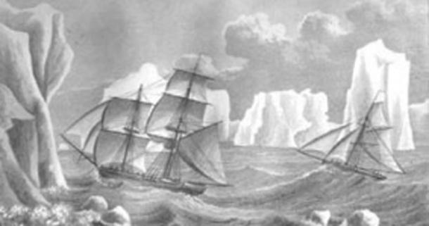 Dipinto della seconda spedizione di James Weddell in Antartide nel 1823, raffigurante il brigantino Jane e il cutter Beaufroy.